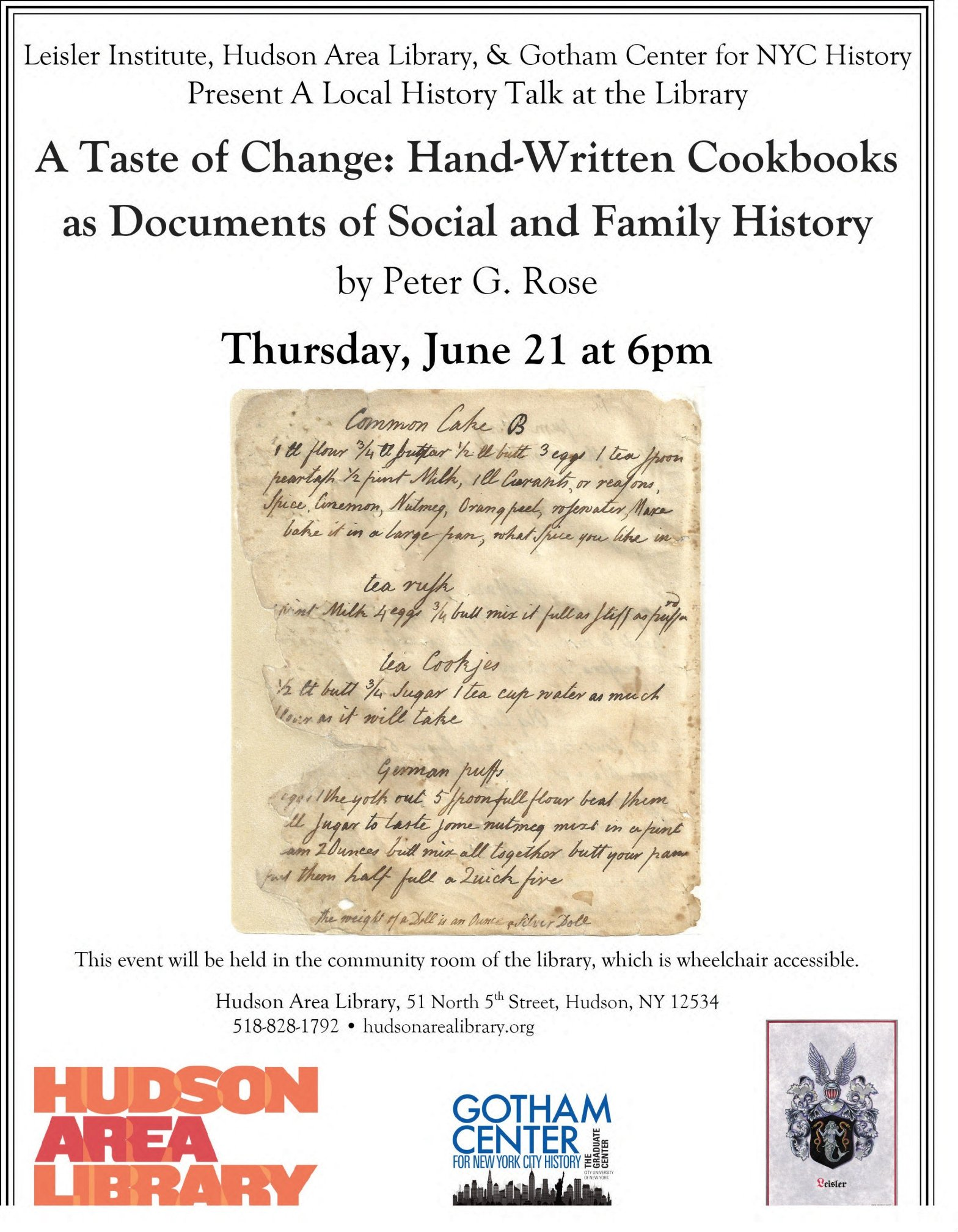 Peter Rose Lecture Hudson NY